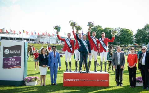 Team Belgium wins the Furusiyya FEI Nations Cup™ Jumping at St Gallen in Switzerland
