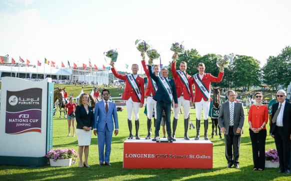 Team Belgium winners of the Furusiyya FEI Nations Cup™ Jumping at St Gallen in Switzerland. Photo Source: fei.org