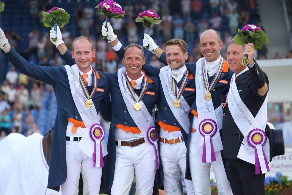 Team Netherlands wins Team Dressage Gold at the 2015 FEI European Championships in Aachen
