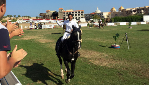 Egypt's Amr Gamal winner of the CSI2*-W Grand Prix of Sahl Hashish (EGY)