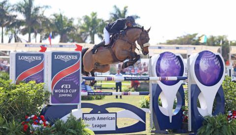 Egypt's Nayel Nassar winner of the $216,000 CSI3*-W Longines Grand Prix, FEI World Cup Jumping Wellington