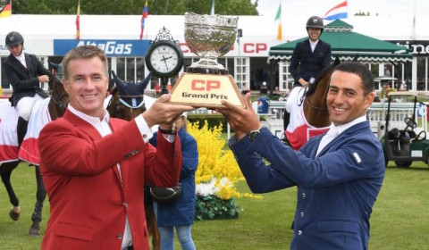 Egypt's Sameh El Dahan winner of the CSI5* CP Grand Prix in Spruce Meadows