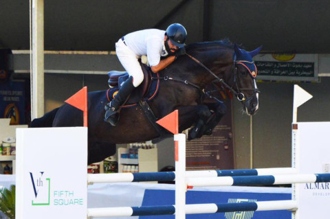 Egypt's Mohamed Elboraie winner of the CSI2*-W Almarasem-Rabab Grand Prix of Cairo