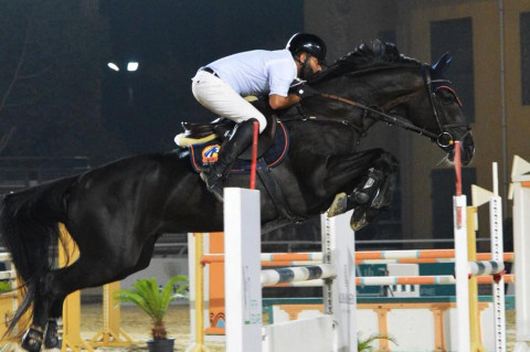 Egypt's Mohamed Elboraie winner of the second CSI2*-W Almarasem-Rabab Grand Prix of Cairo